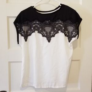 LC Black and white lace top